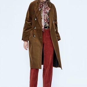 Zara brown corduroy long jacket/coat sz m